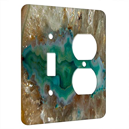 Agate Crystal Turquoise Decor Switch Plate Cover Metal 2 Gang 1 Toggle 1 Duplex Outlet