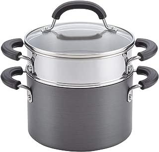 Circulon 84207 Promotional Hard Anodized Nonstick Sauce Pan/ Saucepan with Steamer Insert, 3 Quart, Gray
