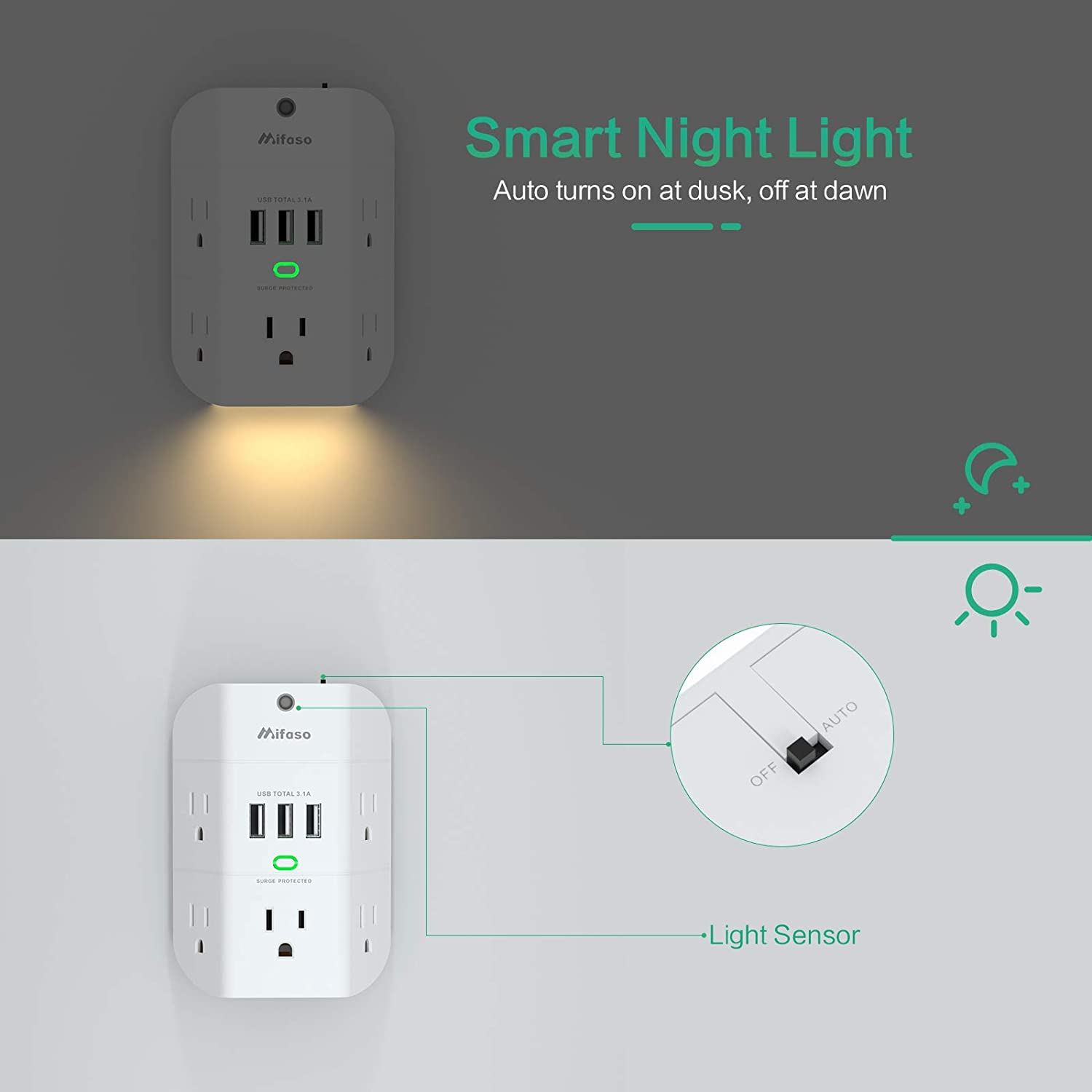Outlet Extender with Night Light, 5-Outlet Surge Protector with 3 USB Charging Ports, 1800J Power Strip Multi Plug Outlets Wall Adapter Expander with Spaced Outlets for Home, School, Office