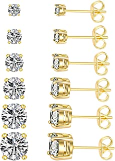 Women's CZ Stud Earrings Simulated Diamond 18K Gold Plated Royal Round Cubic Zirconia Ear Stud Set (6 Pairs)