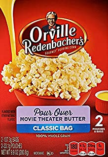Orville Redenbacher's Pour Over Movie Theater Butter 2 Count Classic Bag (3 Boxes - 6 TOTAL Bags)