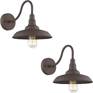 Emliviar Gooseneck Barn Light 2 Pack, Farmhouse Wall Lighting Fixture, Oil Rubbed Bronze Finish, 523-2
