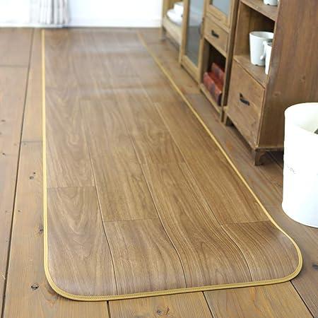 キッチンマット 80×250cm 拭ける クッションフロア 台所 日本製 撥水 抗菌 防カビ 防炎 ブラウン