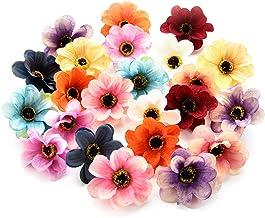 Fake flower heads in bulk wholesale for Crafts Silk Sunflower Daisy Peony Handmake Artificial Flower Heads Wedding Gifts Decoration DIY Wreath Gift Scrapbooking Craft Flower 50pcs 6cm (Colorful)