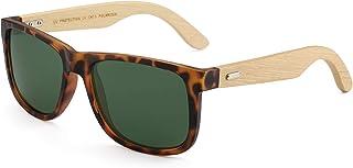 GLINDAR Occhiali da Sole Polarizzati in Legno per Uomo Donna Occhiali Retrò Quadrati Protezione UV400