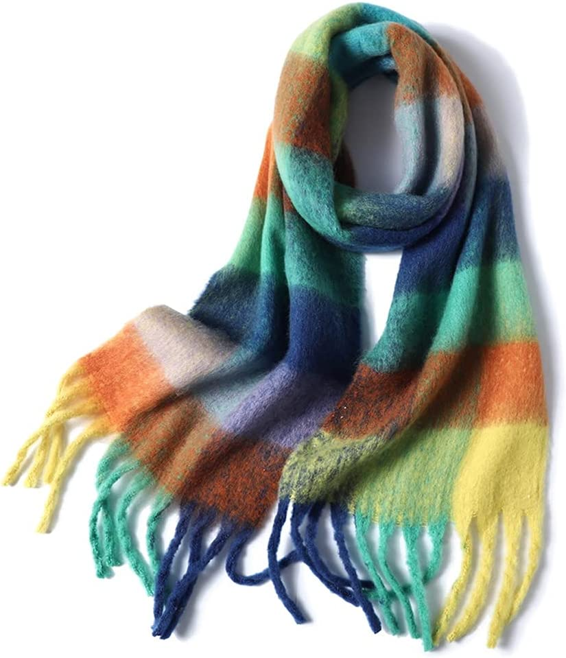 PDGJG Women Plaid Scarf Winter Cashmere Pashmina Wr Thick OFFicial At the price site Shawls