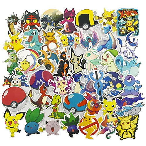 Pokémon Laptop Stickers, Cute Cartoon Vinyl Computer Waterproof Water Bottles Skateboard Luggage Decal Graffiti Patches Decal 45Pcs Pack