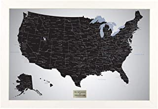 Push Pin Travel Maps Personalized Black Ice USA with Pins and Textured White Frame 27.5 inches x 39.5 inches - Map Your USA Travels