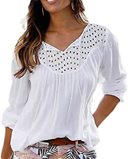 GUOCAI Womens V-Neck Loose Solid Color Hollow Out Long Sleeve Chiffon Pullover Shirt
