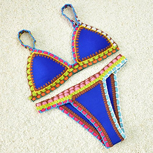 M-Queen Donne Costumi Da Bagno Sexy Vintage Crochet Coordinati Push up Stampa Brasiliano Bikini Beachwear