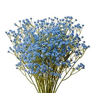 Silk Flower Arrangements Mandy's 10pcs Blue Artificial Babysbreath Flowers for Home Kitchen Decoration