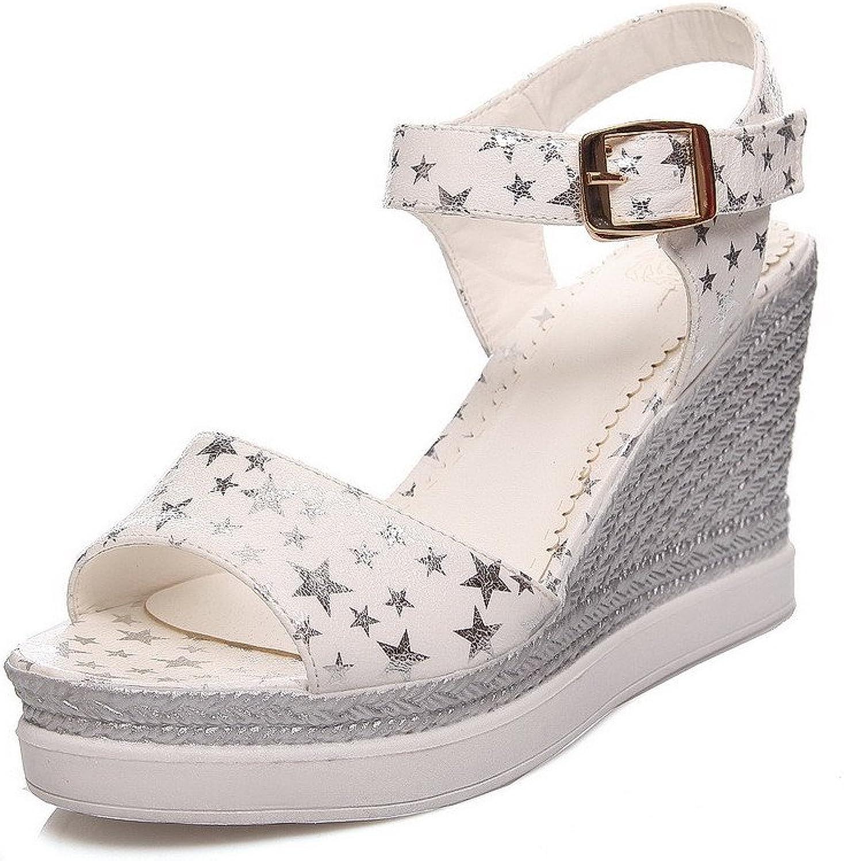WeenFashion Women's Assorted color High Heels Buckle Open Toe Platforms & Wedges