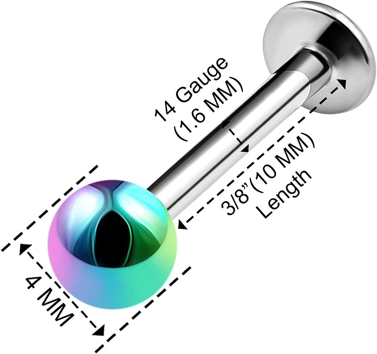 BanaVega 2PCS Stainless Steel Rainbow Labret Lip Rings 14 Gauge 4mm Ball Auricle Earrings Cartilage Piercing Jewelry See More Sizes