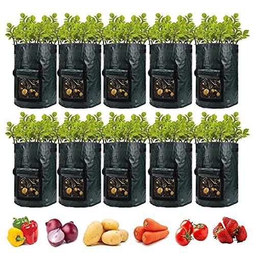 Ledph Kartoffelsack Pflanzsack, 3/5/7/10 Gallonen Topf für Tomatenpflanzen, PE Pflanzenwachstumstaschen mit Klappe und Griff, Pflanzensack fur Kartoffeln SüßKartoffeln Erdnüsse Etc,10pcs,7 Gallon