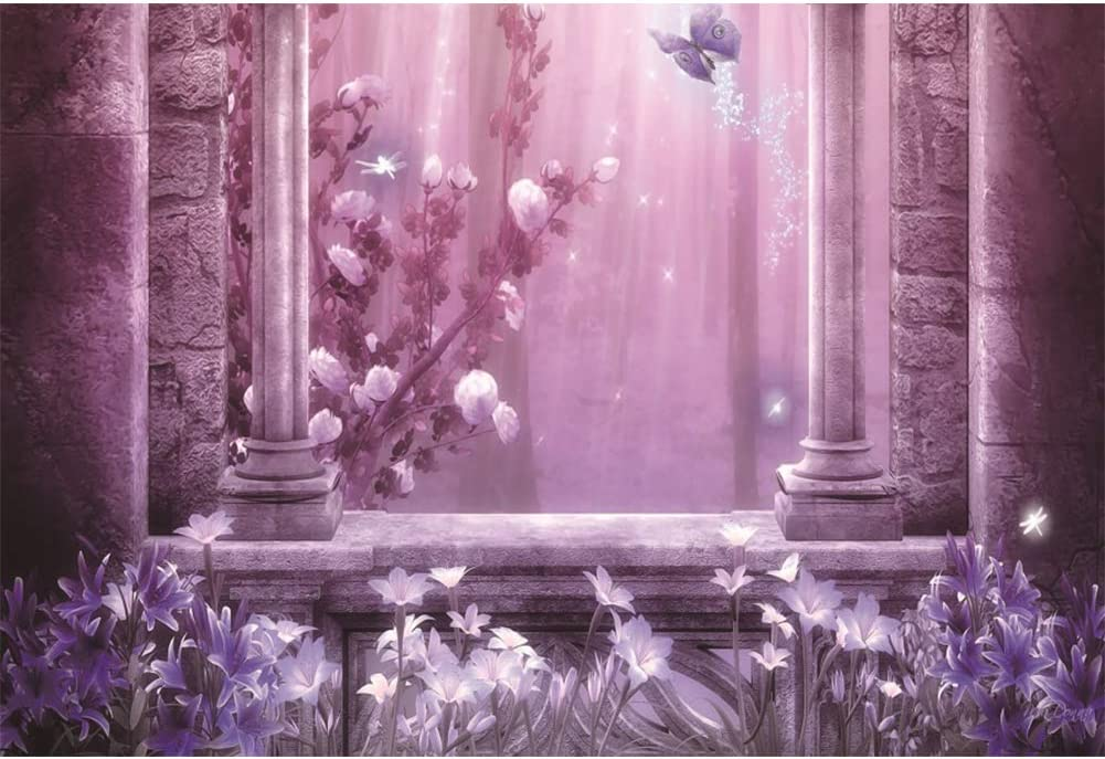 Haoyiyi 5x3ft Wedding Backdrop Romantic Flowers Shiny Butterfly Background Grunge Marble Floor Brick Enchanted Photography Photo Adults Lovers Courtship Birthday Garden Nuptial Portraits