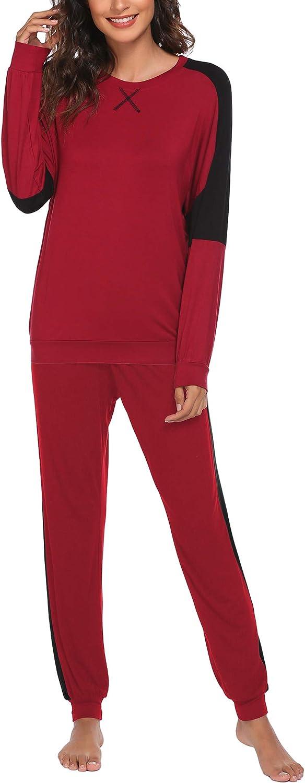 Ekouaer Women's 2 Piece Outfits Long Sleeve Loungewear Sets Color Block Sweatsuit Sets Jogger Sweatpants with Pockets
