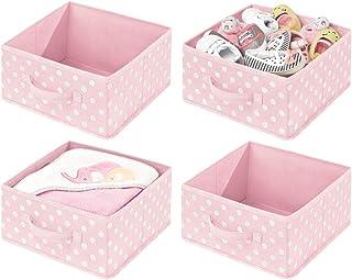 mDesign boite de rangement tissu (lot de 4) – boîte de rangement flexible avec poignée et motif à pois – organisateur de t...