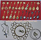 econoLED Fairy Tail, 25Pcs Fairy Tail Lucy Heart Key Chain Celestial Spirit Gate Pendant Set Keychain for Children Kids Christmas Thanksgiving Day Birthday Gifts