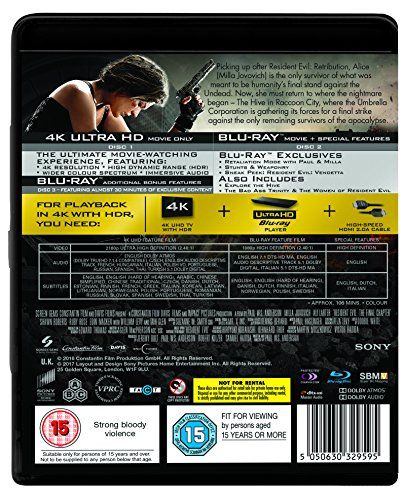 Resident Evil: The Final Chapter (2 DISC BD & UHD) [Blu-ray] [2017] [Region Free]