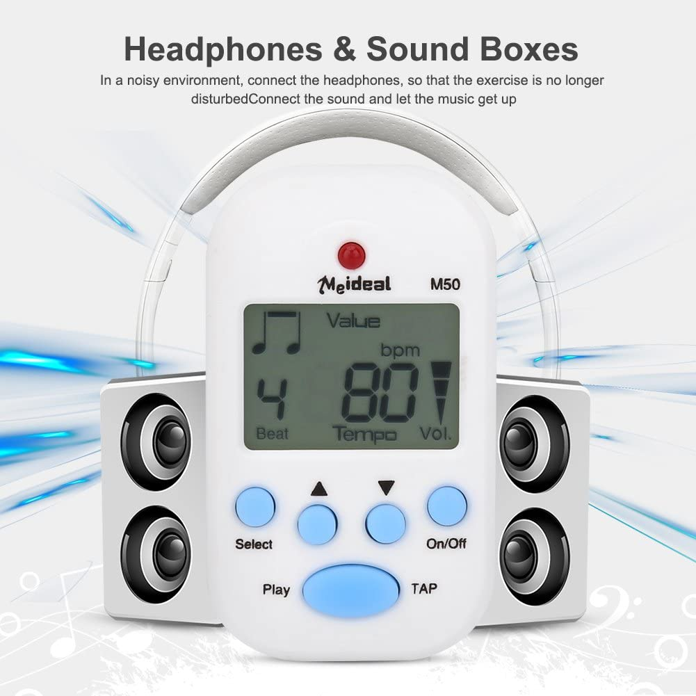 Violin Guitar Portable Mini Metronome Multi-functional Clip-On Digital Beat Tempo Metronome for Piano White Trap Drum