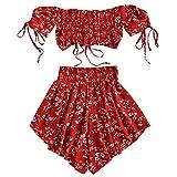 Zaful - Completo da donna a maniche corte, a spalle scoperte, con top e pantaloncini a vita alta, motivo floreale, estivo Colore: rosso XL