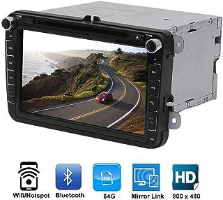 مشغل دي في دي في دي مزدوج لفيديو السيارة مقاس 8 بوصة مع شاشة LCD تعمل باللمس، ساعة مدمجة، عرض تقديم، خاصية الذاكرة التلقائية
