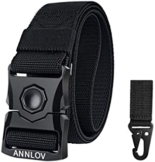 Men's Stretch Woven Braid Belt Men's Classic Dress Belt Padded Weight Lifting Belt for Fitness Exercise Training Amazon Brand - Meraki Men's Leather Belt Tactical Belt,Military Style Webbing Riggers EDC Work Belts Heavy-Duty Quick-Release Metal Buckle for Men and Women