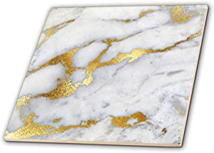 "3dRose Image of Luxury Grey Gold Gem Stone Marble Glitter Metallic Faux Print 12"" Decorative Tiles, Ceramic, Clear"