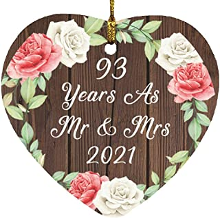 93rd Anniversary 93 Years As Mr & Mrs 2021 - Heart Wood Ornament A Christmas Tree Hanging Decor - for Wife Husband GF BF W...