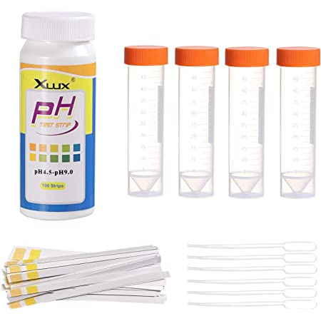 XLUX Soil ph tester, acidity test meter, Strips Kit 100 Tests, for Garden Home Lawn Farm Vegetable Yard Compost Outdoor and Indoor Plants, 4.5-9.0 range