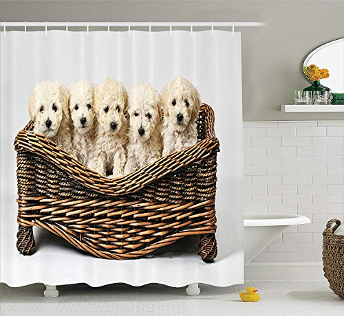 Yeuss Dog Lover Decor Collection,Süße kleine Babyh&e in einem Holzkorb,die auf EIN gepflegtes Tier warten,Duschvorhang aus Polyestergewebe,Braun-Beige