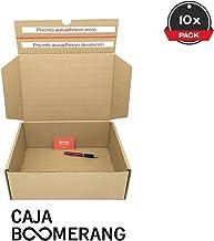 Cajeando   Pack de 10 Cajas de Cartón para Envíos (Caja Boomerang Doble Envío)   Tamaño 35 x 25 x 13 cm   Color Marrón   Permite Hacer Dos Envíos en Uno   Mudanzas   Fabricadas en España