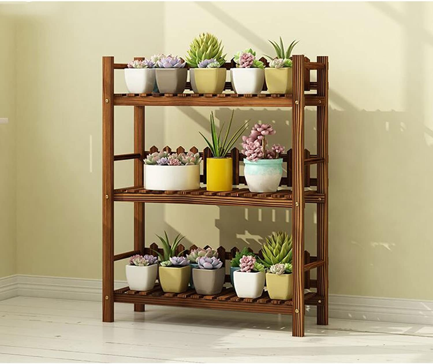 Flower stand Solid Wood flower stand Plant Stand Indoor Balcony flower stand Multi-Layer Floor Shelf Three-Dimensional flower stand (Size   M)