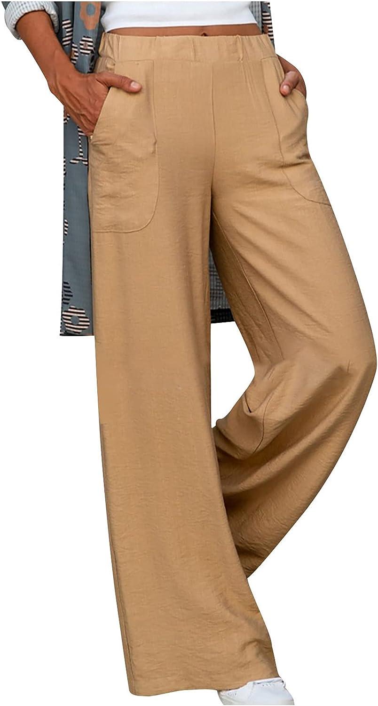MYDANRAN Womens Wide Leg Pants Elastic Waist Pockets Solid Color Loose Fit Casual Cotton Linen Sweatpants