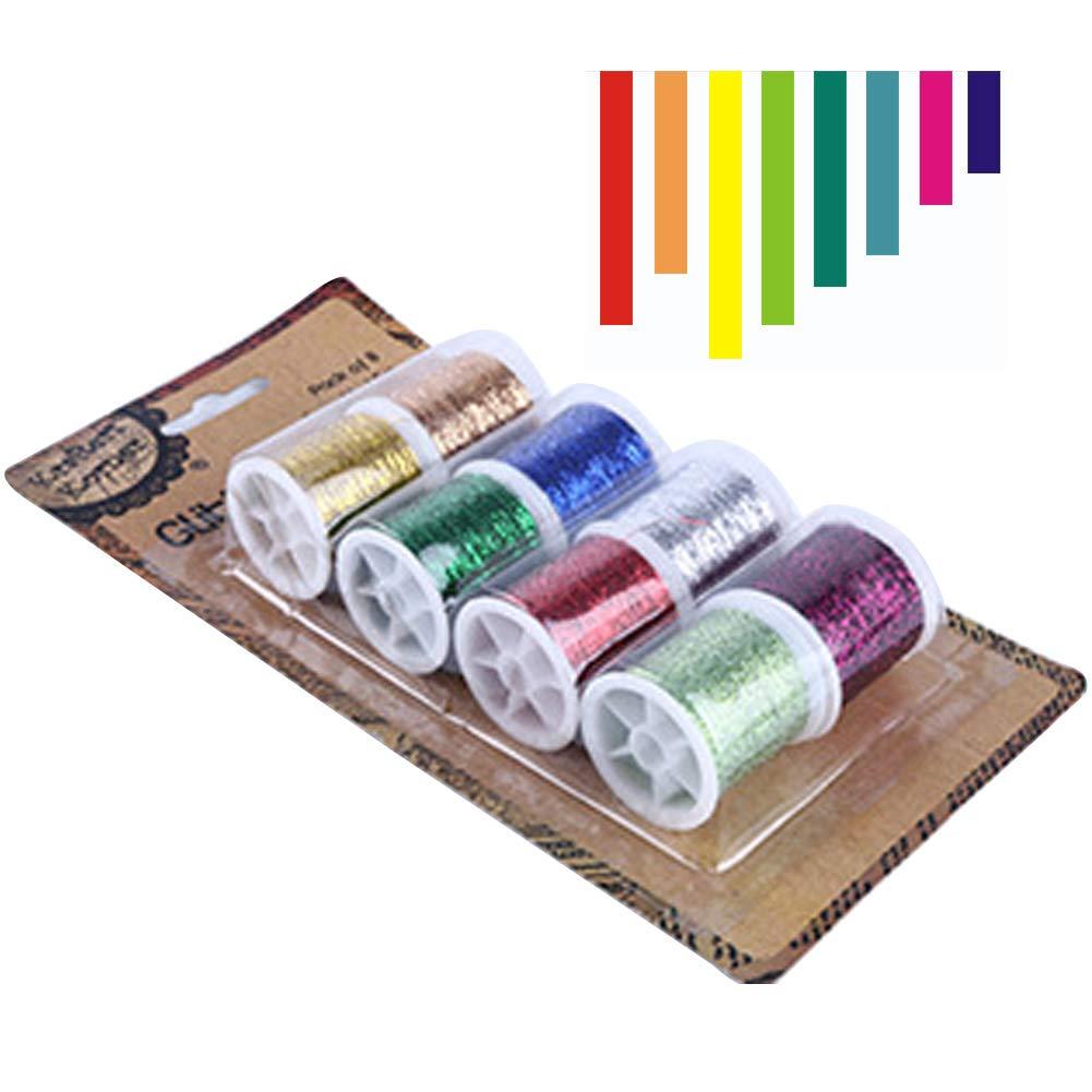 Hilo metálico para bordar, 8 piezas de hilo colorido con purpurina, bobina de hilo de coser de poliéster, bordado hecho a mano, para coser a máquina o a mano, 22x12x3.2 cm: Amazon.es: