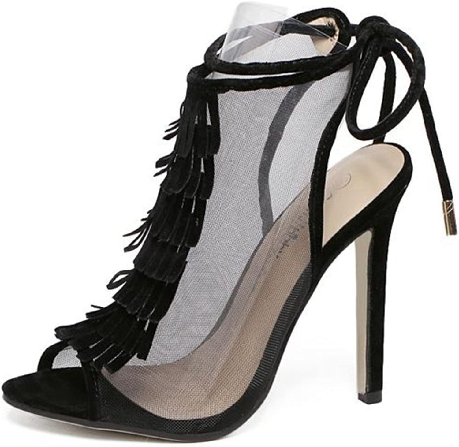 Btrada Women Mesh Hollow Pumps High Heel Tassel Sandals Fish Mouth Dress shoes Ankle Lace-up Stiletto