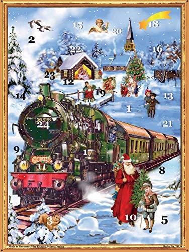 Richard Sellmer Verlag Nostalgischer Adventskalender / Weihnachtskalender mit Bildern und Glimmer für Kinder und Erwachsene Eisenbahn im Schnee