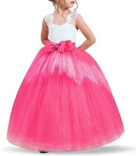 Niñas Bordado Princesa Dress, Vestidos sin Mangas de Bola para la Fiesta de casamiento Nacimientos