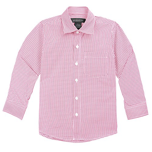 Spring Notion Big Boys' Long Sleeve Gingham Shirt 7 Lemonade Pink