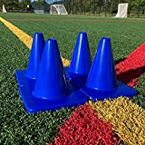 Heavy & Tough 6' Cones - Won't Fly Away in Wind or Crack/Break - LVL10 Pro Training Cones - 6 Cones - Blue