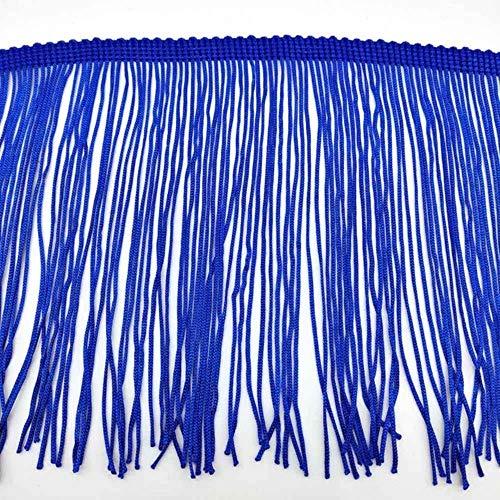 LAGEDOUDING 10 Yardas 15 cm de Largo Flecos de Encaje Borla Poliéster Encaje Adorno Cinta Coser Vestido Escenario Accesorios de Cortina de Ropa, Azul Real, 5 Yardas