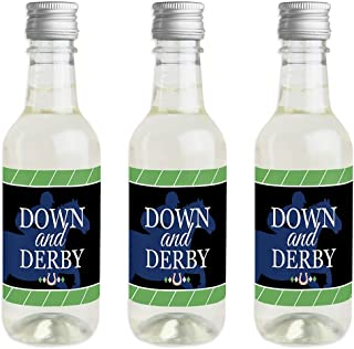 Kentucky Horse Derby - Mini Wine and Champagne Bottle Label Stickers - Horse Race Party Favor Gift for Women and Men - Set of 16