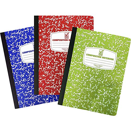 Composition Book, Wide Ruled Notebooks (3 Pack) Assorted Marble Colors, Hard Cover 100 sheets 9.75' x 7.5' - Back to School Supplies For Students & College by 4E's Novelty