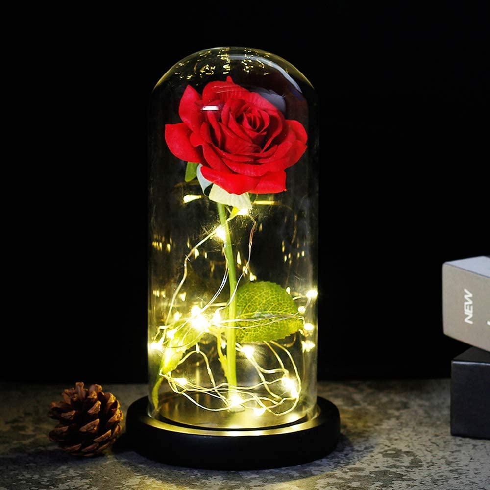 Beauty and The Beast Red Rose in A Glass Dome On A Wooden Base for Valentine's Gifts LED Rose Lamps (Black Bottom)