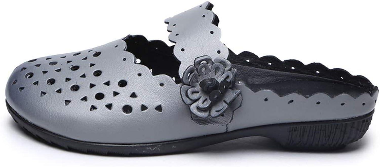 Threeflower Sandals Slip On Slides Women's Slippers Genuine Leather Summer Flat Flowers Casual Solid Female Flip Flops