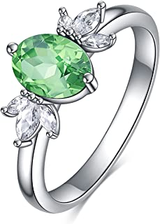 AOBOCO Oval Birthstone Silver Ring Jewelry for Women with Austrian Crystal