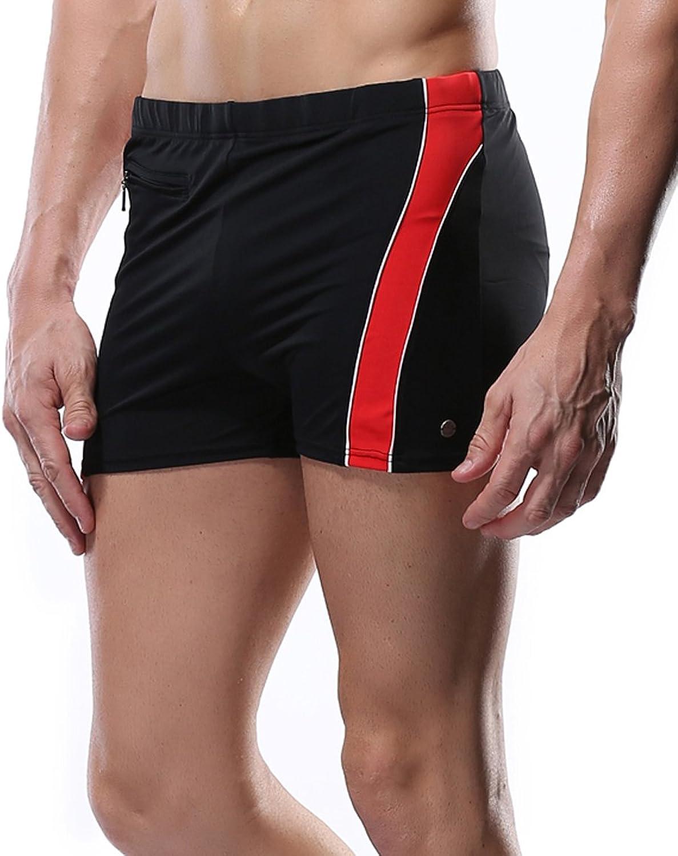 Beautyin Men's Swim Trunk Jammer Swimsuit Boxer Short Splice Square Leg Swimwear