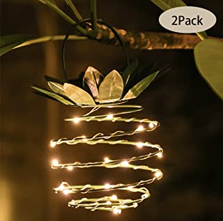 LuxBox Hanging Solar Lights Set of 2 Pineapple Solar Garden Lights, 25 LED Lights with Automatic for Outdoor Garden Patio Deck Decorative Lights