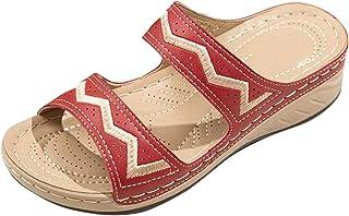 BRISEZZ Dames Sandaal, Dames Sleehak Slippers Veelkleurig Geborduurd Sandalen Slippers Open Teen Gesp Casual Schoenen One-...