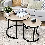 amzdeal Juego de 2 mesas de café Redondas, mesitas Nido para salón o Dormitorio, Montaje Estable y Sencillo (Color Natural).